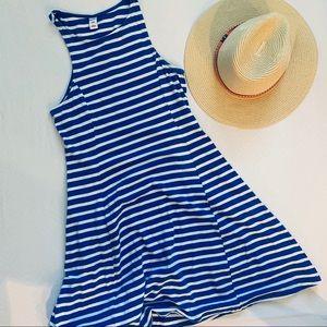 Striped Racerback Jersey Knit Tank Dress, Size S